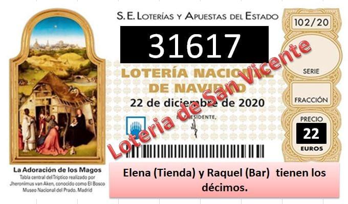 San Vicente nos ha premiado con un quinto premio en la lotería de Navidad